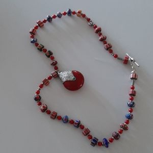 Ethnic red bearded necklace